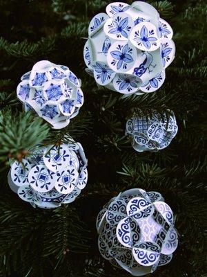 Piet Design Delfts blauwe Kerstballen set/5