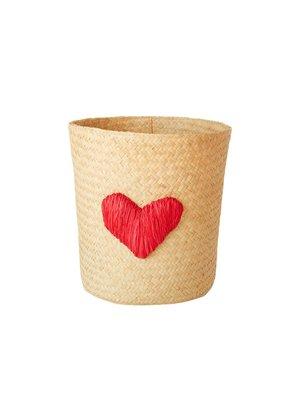Rice Raffia mand rond naturel met rood hart