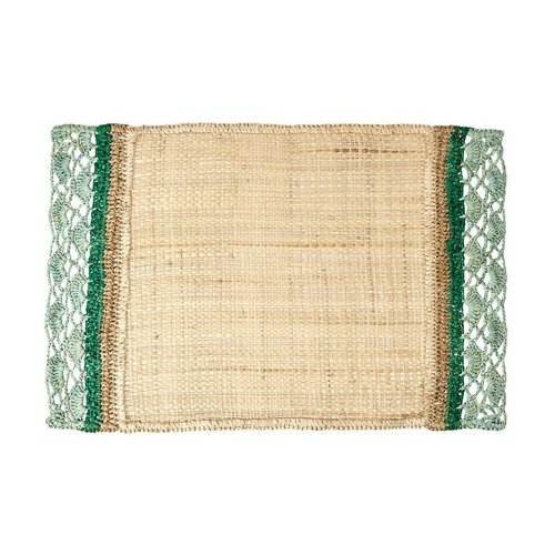 Rice Placemat Raffia rechthoek groen