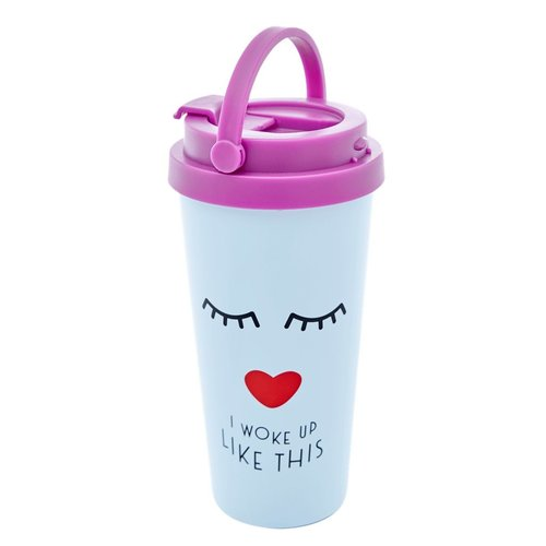 Rice Thermos beker 450ml Face zacht blauw