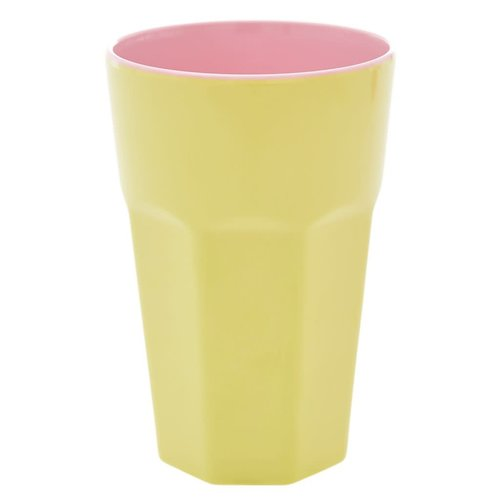 Rice Melamine Tall beker Soft Yellow & Pink two tone