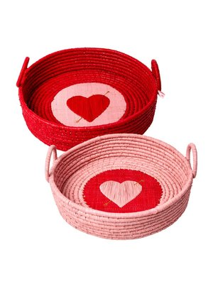Rice Raffia Brood mand rond Heart roze