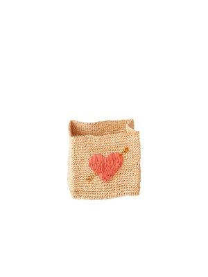 Rice Raffia vierkant mandje Heart medium