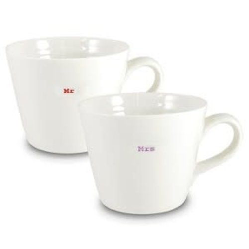 Keith Brymer Jones Bucket Mug set/2 Mr Mrs