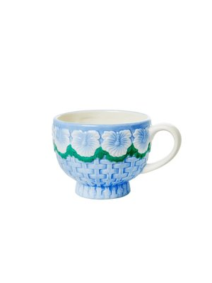Rice Aardewerk kop Embossed Flower Blue