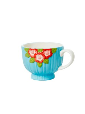 Rice Aardewerk kop Embossed Flower Mint