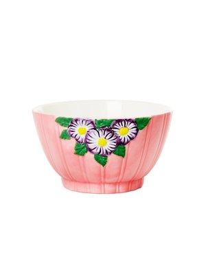 Rice Aardewerk kom Embossed Flower Pink