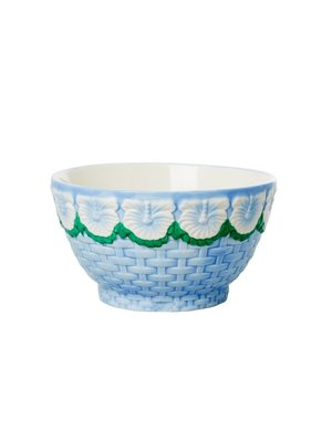 Rice Aardewerk kom Embossed Flower Blue