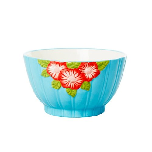 Rice Aardewerk kom Embossed Flower Mint