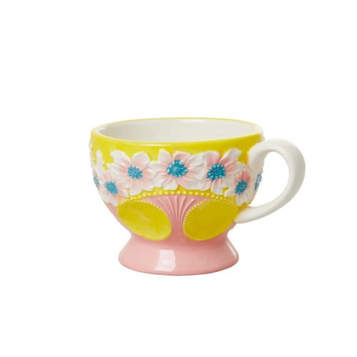 Rice Aardewerk kop Embossed Flower Yellow