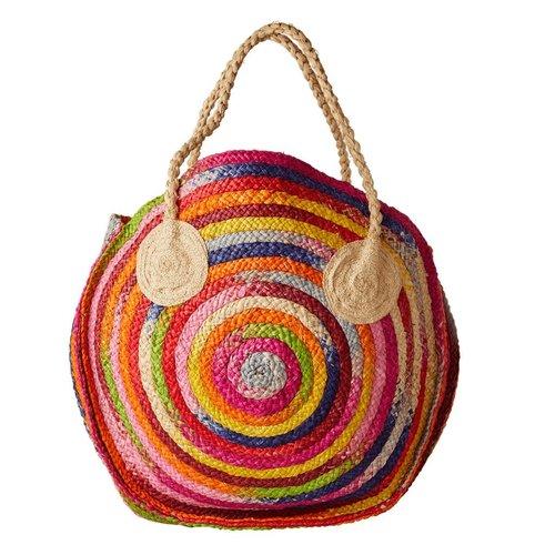 Rice Shopper raffia Multicolor stripes Regenboog