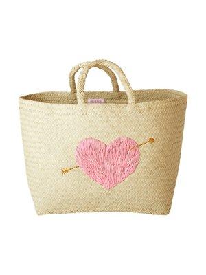 Rice Shopper raffia medium Pink Heart
