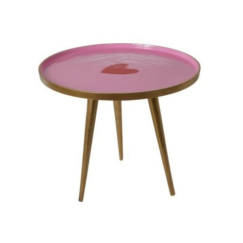 Rice Side Tafel metaal small Pink with Heart