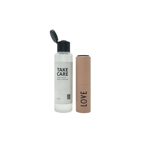 Design Letters Take Care hand sanitizer met refill Nude - Love