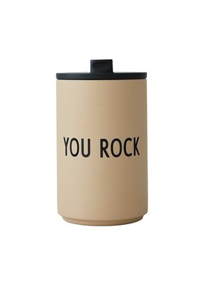 Design Letters Thermos / Geisoleerde Cup 350ml You Rock - beige