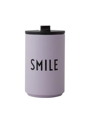 Design Letters Thermos / Geisoleerde Cup 350ml Smile - lavendel