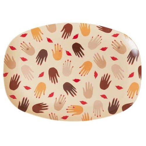 Rice Melamine ovaal bord Hands and Kisses