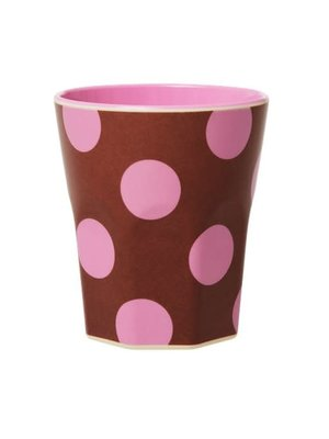 Rice Melamine beker jumbo Brown & Soft Pink Dots