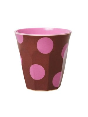 Rice Melamine beker medium Brown & Soft Pink Dots