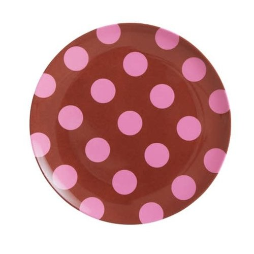 Rice Melamine lunch bord Brown & Soft Pink Dots