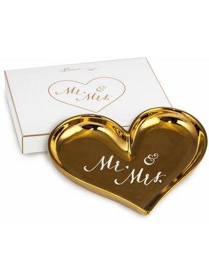 Baci Milano Schaal Heart gold Mr & Mrs 12x15cm