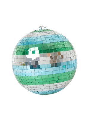 Rice Disco bal 25cm stripes blue, green and silver