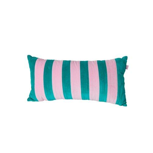 Rice Kussen fluweel rechthoek medium 30x60cm Green and Pink streep
