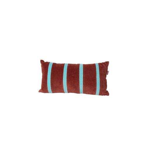 Rice Kussen fluweel rechthoek small 20x30cm Brown en Mint streep