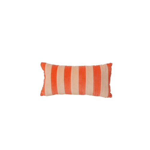 Rice Kussen fluweel rechthoek small 20x30cm Orange and Apricot streep