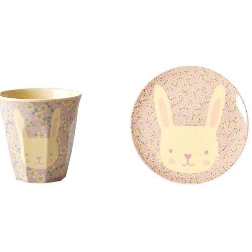 Rice Melamine Kids lunch bord & beker small  Animal - Bunny