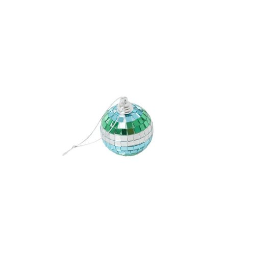 Rice Disco bal 5cm stripes blue, green and silver