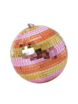Rice Disco bal 25cm stripes orange, pink and gold