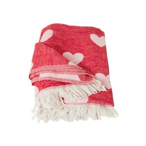Rice Plaid Pink - Red Hearts
