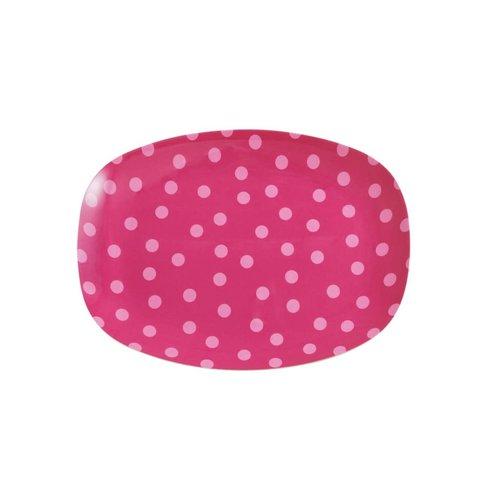 Rice Melamine ovaal bord small Fuchsia met Soft Pink Dot