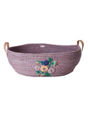 Rice Raffia Big ovale mand Lavendel Embroidered Flowers XL