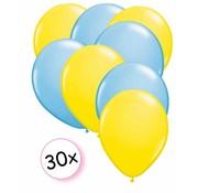 Joni's Winkel Ballonnen Geel & licht blauw 30 stuks 27 cm