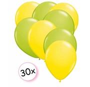 Joni's Winkel Ballonnen Geel & Licht groen 30 stuks 27 cm