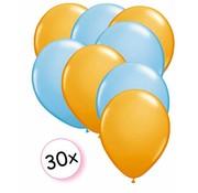 Joni's Winkel Ballonnen Oranje & Licht blauw 30 stuks 27 cm