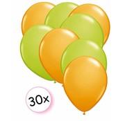 Joni's Winkel Ballonnen Oranje & Licht Groen 30 stuks 27 cm