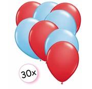 Joni's Winkel Ballonnen Rood & Licht blauw 30 stuks 27 cm