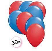 Joni's Winkel Ballonnen Rood & Blauw 30 stuks 27 cm