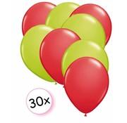 Joni's Winkel Ballonnen Rood & Licht groen 30 stuks 27 cm