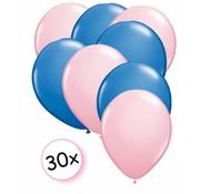 Joni's Winkel Ballonnen Licht roze & Blauw 30 stuks 27 cm
