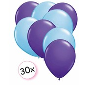 Joni's Winkel Ballonnen Paars & Licht blauw 30 stuks 27 cm