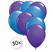 Joni's Winkel Ballonnen Paars & Blauw 30 stuks 27 cm