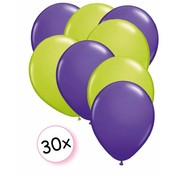 Joni's Winkel Ballonnen Paars & Licht groen 30 stuks 27 cm