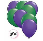 Joni's Winkel Ballonnen Paars & Groen 30 stuks 27 cm