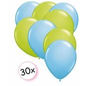 Joni's Winkel Ballonnen Licht Blauw & Licht Groen 30 stuks 27 cm