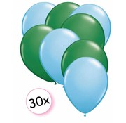 Joni's Winkel Ballonnen Licht blauw & Groen 30 stuks 27 cm