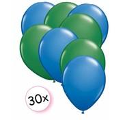 Joni's Winkel Ballonnen Blauw & Groen 30 stuks 27 cm